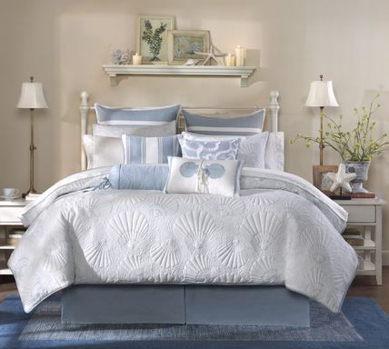 Beach seashell motif white comforter 3-4-piece set