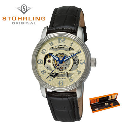 Leather Round Party Style Mechanical Watch Analog Watches