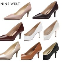 Nine West Plain Leather Office Style Pointed Toe Pumps & Mules