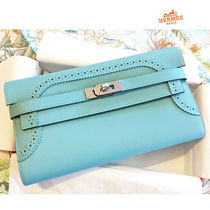 HERMES Kelly 16AW Kelly Long Bleu Atoll Ghillies Model Long Wallet Clutch