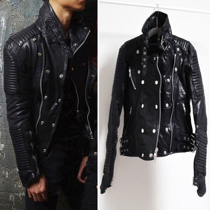 Unisex lambskin studded leather dozen jacket
