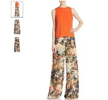 Alice+Olivia Tropical Patterns Long Wide Leg Pants