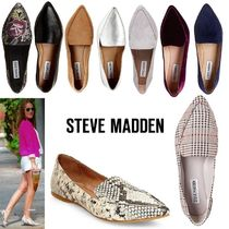 Steve Madden Plain Other Animal Patterns Leather Slip-On Shoes