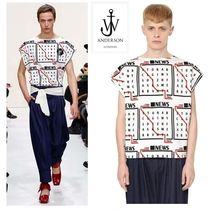 J W ANDERSON Boat Neck Cotton Short Sleeves T-Shirts