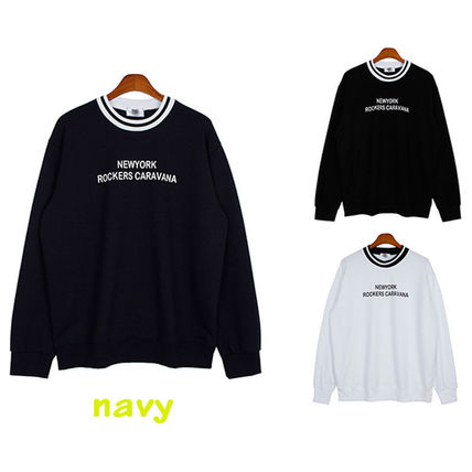 Long Sleeve Pullovers Street Style U-Neck Long Sleeves Cotton