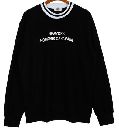 Long Sleeve Pullovers Street Style U-Neck Long Sleeves Cotton 3