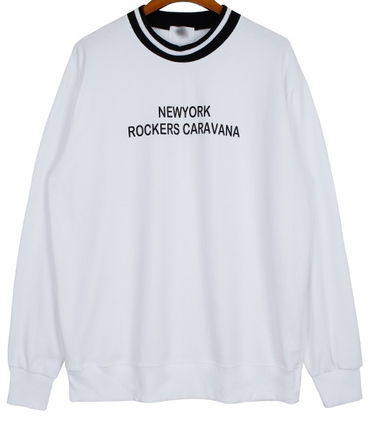 Long Sleeve Pullovers Street Style U-Neck Long Sleeves Cotton 4