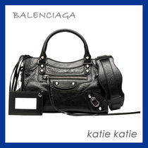 BALENCIAGA CITY Black Lambskin Classic Silver Mini Shoulder Bag