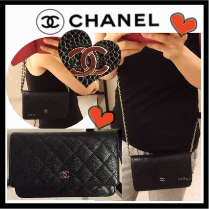 CHANEL CHAIN WALLET Calfskin 2WAY Plain Party Style Luxury Brand Chain Bag