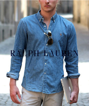 Ralph Lauren Button-down Street Style Long Sleeves Plain Shirts