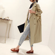Plain Long Office Style Oversized Trench Coats