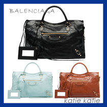 BALENCIAGA CITY Lambskin Classic Gold Handbag (Black/Marron/Bleu)