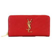 Saint Laurent Plain Leather Long Wallets