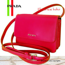 PRADA Peonia Pink Box Calf Leather Flap Shoulder Bag