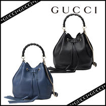 GUCCI Leather Party Style Purses Totes