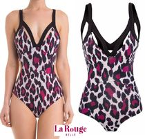 Leopard Patterns Blended Fabrics Brazilian Swim One-Piece