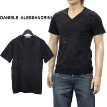 Pullovers Dots V-Neck Cotton Short Sleeves V-Neck T-Shirts
