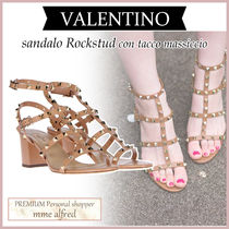VALENTINO Round Toe Casual Style Studded Plain Leather Block Heels