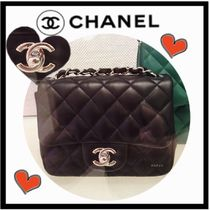 CHANEL MATELASSE Black Lambskin Classic Flap Mini Square Bag (GHW/SHW)