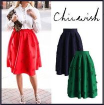 Chicwish Flared Skirts Flower Patterns Plain Medium Party Style