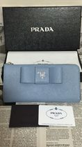 PRADA SAFFIANO LUX Plain Leather Long Wallets