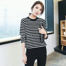 Crew Neck Stripes Long Sleeves Tops