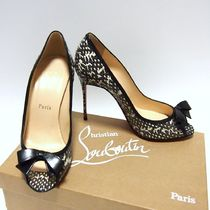 Christian Louboutin Monogram Open Toe Leather Pin Heels Party Style