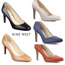 Nine West Round Toe Leather Office Style High Heel Pumps & Mules