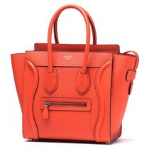 CELINE Luggage Calfskin A4 Plain Handbags