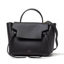 CELINE Belt Calfskin 2WAY Plain Handbags