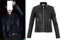 Saint Laurent Studded Plain Leather Biker Jackets