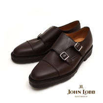 John Lobb WILLIAM Straight Tip Monk Plain Leather Handmade Loafers & Slip-ons