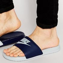 Nike BENASSI Faux Fur Street Style Bi-color Plain Shower Shoes