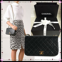 CHANEL MATELASSE Lambskin Plain Party Style Shoulder Bags