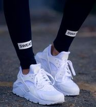 Nike AIR HUARACHE Street Style Plain Leather Low-Top Sneakers