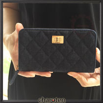 CHANEL ICON Unisex Canvas Plain Long Wallets