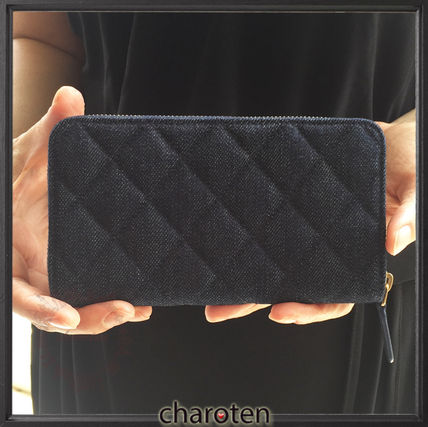 CHANEL Long Wallets Unisex Canvas Plain Long Wallets 5