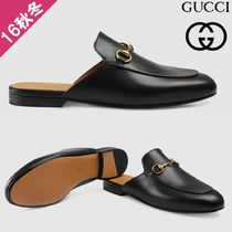 GUCCI Princetown Square Toe Plain Leather Slip-On Shoes