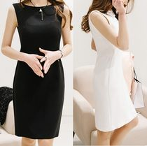 Sleeveless Plain Medium Elegant Style Dresses
