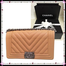 CHANEL BOY CHANEL Leather Party Style Shoulder Bags