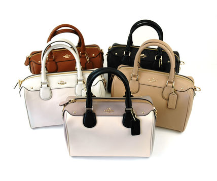 Coach 2WAY Plain Leather Handbags