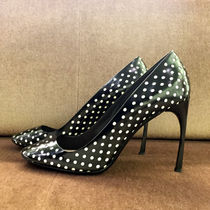 MiuMiu Dots Round Toe Bi-color Leather Pin Heels Party Style