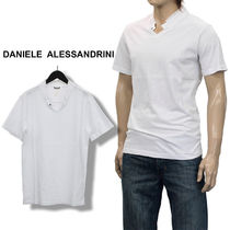 V-Neck Plain Cotton Short Sleeves Band-collar Shirts