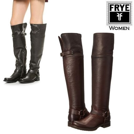 Round Toe Studded Plain Leather Over-the-Knee Boots
