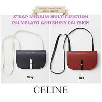 CELINE Strap Casual Style Calfskin 3WAY Plain Shoulder Bags