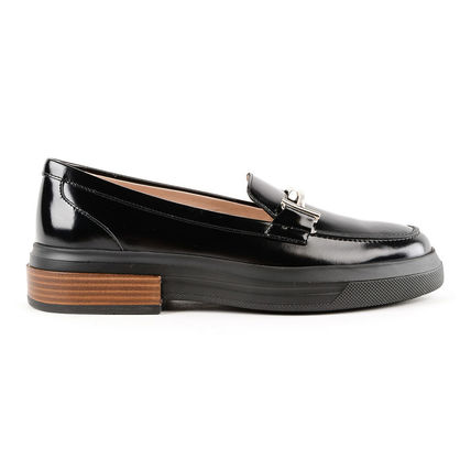 TOD'S Round Toe Plain Leather Office Style Loafer & Moccasin Shoes