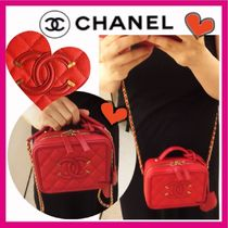 CHANEL ICON Red/GHW CC Filigree Vanity Case Small Shoulder Bag