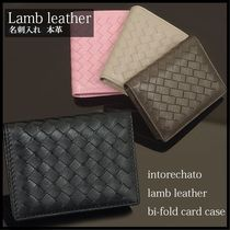 Other Check Patterns Unisex Plain Leather Card Holders