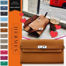 HERMES Kelly Calfskin Plain Long Wallets