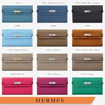 HERMES Kelly Calfskin Plain Folding Wallet Long Wallets
